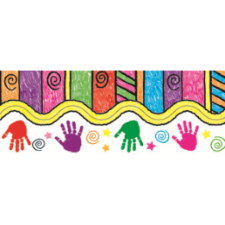 Handprints and Kids Art Scalloped Border